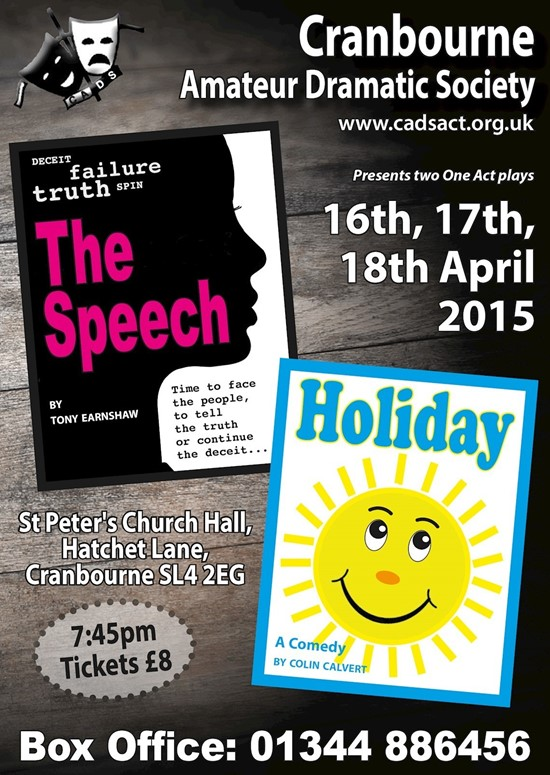 Holiday / The Speech - Cranbourne Amateur Dramatic Society